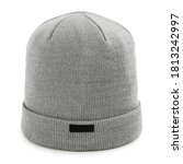 Gray Wool Knit Ski Hat Isolated ...