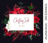 christmas red poinsettia ... | Shutterstock .eps vector #1813264621