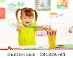 cute little girl cutting and... | Shutterstock . vector #181326761