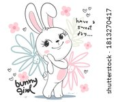 cute bunny girl cartoon in...   Shutterstock .eps vector #1813270417