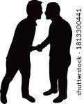 two men greeting  silhouette...   Shutterstock .eps vector #1813300441