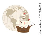 columbus ship with world sphere ... | Shutterstock .eps vector #1813316851