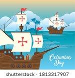 christopher columbus cartoon in ... | Shutterstock .eps vector #1813317907