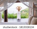 Woman In White Summer Dress In...
