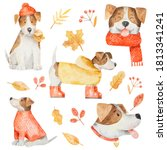 Watercolor Set Of Dogs Jack...