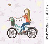 vector illustration with cute... | Shutterstock .eps vector #181334417
