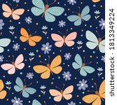 seamless pattern with colorful... | Shutterstock .eps vector #1813349224