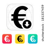euro exchange rate down icon.