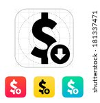 dollar exchange rate down icon.