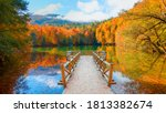 Small photo of Autumn forest landscape reflection on the water with wooden pier - Autumn landscape in (seven lakes) Yedigoller Park Bolu, Turkey