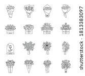 set of flower bouquet flat... | Shutterstock .eps vector #1813383097