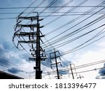 Silhouette Of A High Voltage...
