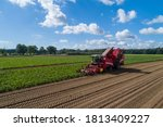 Small photo of Farmers harvest sugar beet in a country field. Sugar beet harvest with a Sugarbeet harvester an agricultural machine.