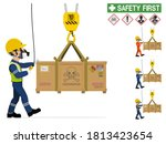 an industrial worker is moving... | Shutterstock .eps vector #1813423654