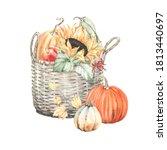 watercolor autumn composition... | Shutterstock . vector #1813440697