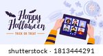 children in halloween dress... | Shutterstock .eps vector #1813444291