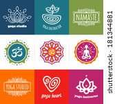 set of yoga and meditation... | Shutterstock .eps vector #181344881