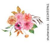 watercolor autumn floral... | Shutterstock . vector #1813455961