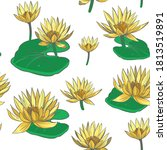 seamless pattern water lily.... | Shutterstock .eps vector #1813519891