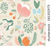 seamless texture with flowers.... | Shutterstock .eps vector #181352975