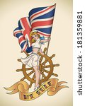 old school navy tattoo of a pin ... | Shutterstock .eps vector #181359881