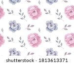 seamless floral pattern with... | Shutterstock . vector #1813613371