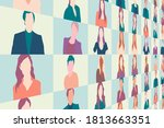 video call conference or... | Shutterstock .eps vector #1813663351