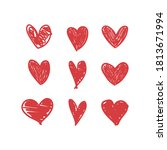 doodle hearts  hand drawn love... | Shutterstock .eps vector #1813671994