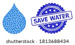 Save Water Rubber Stamp Seal...