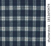 Dark Blue Checkered Plaid Wool...