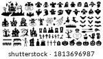 set of silhouettes of halloween ... | Shutterstock .eps vector #1813696987