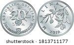 croatian 20 lipa coin  olive...   Shutterstock .eps vector #1813711177