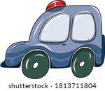 funny cartoon vector blue retro ... | Shutterstock .eps vector #1813711804