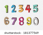 sketch numbers 0 9 | Shutterstock .eps vector #181377569