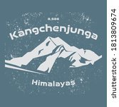 Kangchenjunga is the third highest mountain in the world, Nepal, Asia - climbing, trekking, hiking, mountaineering and other extreme activities template, vector illustration