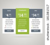 vector pricing table for... | Shutterstock .eps vector #181381517