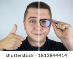 A Man With Glasses Before And...