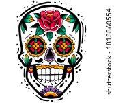 traditional mexican sugar skull.... | Shutterstock .eps vector #1813860554