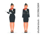 stewardess in two poses on a... | Shutterstock .eps vector #1813862684
