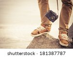 feet man and vintage retro... | Shutterstock . vector #181387787
