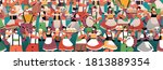 crowd of people in medical... | Shutterstock .eps vector #1813889354