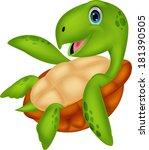 cute sea turtle cartoon   Shutterstock .eps vector #181390505