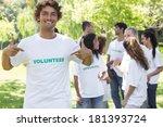 portrait of male volunteer... | Shutterstock . vector #181393724