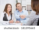 smiling young man shaking hands ... | Shutterstock . vector #181395665