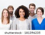multiethnic group of happy... | Shutterstock . vector #181396235