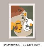 continuous line woman portrait  ...   Shutterstock .eps vector #1813964594