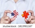 Hand Holding Usa And China...