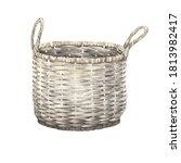 watercolor old wicker basket ... | Shutterstock . vector #1813982417