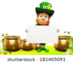 leprechaun stands with sign for ... | Shutterstock . vector #181405091