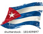 a grunge cuban flag in the wind ... | Shutterstock .eps vector #181409897